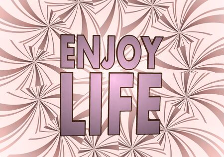 enjoy life: 3d grafico con bella icona godersi la vita su sfondo d'epoca Archivio Fotografico