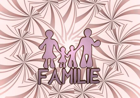 3d graphic with 3d family  in german icon  on vintage background photo