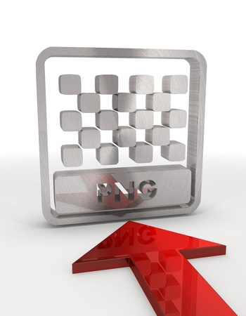 png: 3d graphic with metallic png file label with red arrow