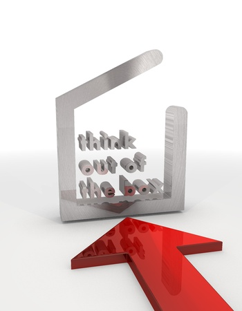 think out of the box: 3d graphic with different think out of the box icon with red arrow