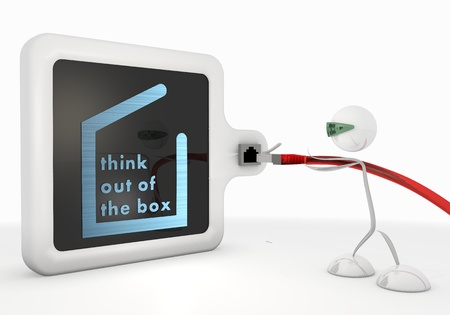 think out of the box: Pastel gray  exclusive access 3d graphic with cute think out of the box symbol with futuristic 3d character Stock Photo