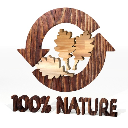 autumnn: Sepia  sustainable environment 3d graphic with environmental oak leaves icon on a wooden pure nature recycling element