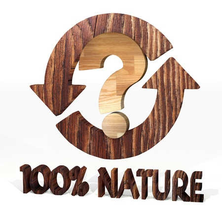 unresolved: Sepia  unresolved problem 3d graphic with sustainable question symbol on a wooden pure nature recycling element Stock Photo