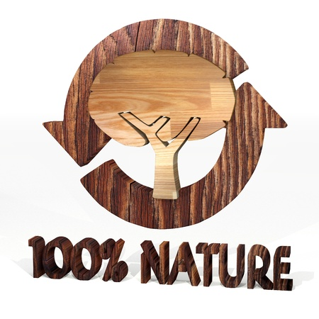 autumnn: Sepia  eco wood 3d graphic with eco abstract tree symbol on a wooden pure nature recycling element