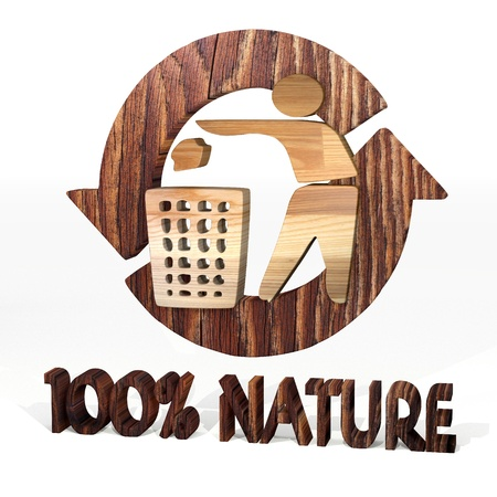 cast off: Sepia  environmental ecology 3d graphic with isolated delete symbol on a wooden pure nature recycling element