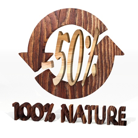 deduction: Sepia  -50 deduction 3d graphic with natural discount icon on a wooden pure nature recycling element