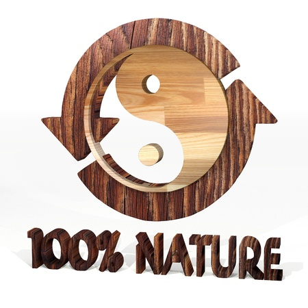 Sepia  harmonious free 3d graphic with harmonical ying yang symbol on a wooden pure nature recycling element Stock Photo - 21435752