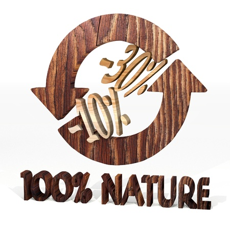 deduction: Sepia  30 deduction 3d graphic with natural discount icon on a wooden pure nature recycling element