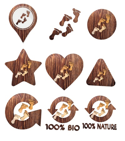 smoky black: Smoky black  isolated eco 3d graphic with sustainable footprint icon set of wooden 3d buttons Stock Photo