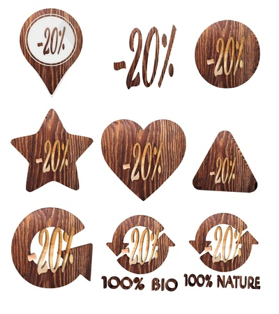 smoky black: Smoky black  -20 rebate 3d graphic with -20 discount icon set of wooden 3d buttons Stock Photo
