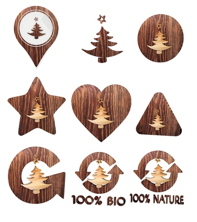 autumnn: Smoky black  sustainable ecology 3d graphic with cute abstract christmas tree icon set of wooden 3d buttons