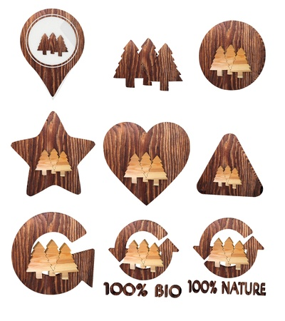 autumnn: Smoky black  natural wood 3d graphic with environmental abstract group of trees icon set of wooden 3d buttons Stock Photo