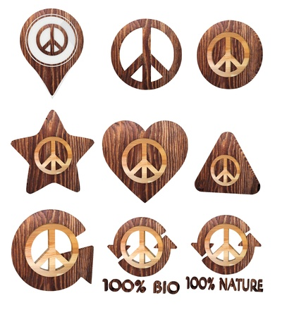 harmful to the environment: Smoky black  isolated freedom 3d graphic with isolated peace symbol set of wooden 3d buttons Stock Photo