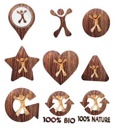 smoky black: Smoky black  funny environment 3d graphic with nice happy character icon set of wooden 3d buttons