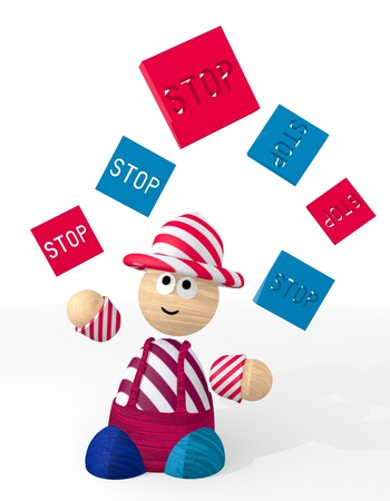 White  cute circus 3d graphic with isolated stop sign juggled by a clown photo