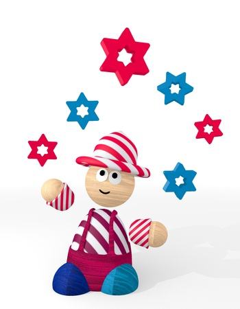 White  cute circus 3d graphic with happy star icon juggled by a clown photo