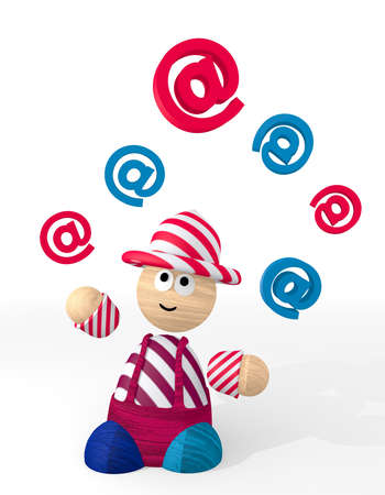 White  connecting contact 3d graphic with happy email symbol juggled by a clown photo