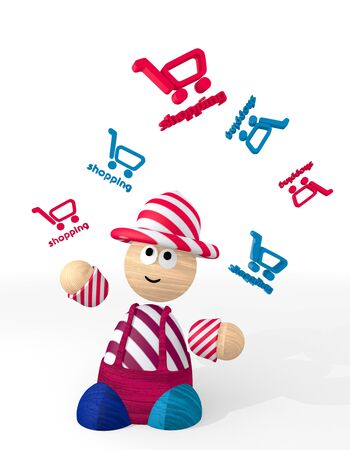 White  happy shop 3d graphic with cute shopping icon juggled by a clown photo