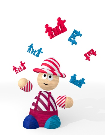 White  cute patchwork family 3d graphic with funny family sign juggled by a clown photo
