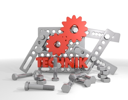 Dark red  technical construction 3d graphic with isolated technik (english technical) icon  on mechanical construction photo