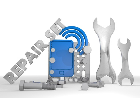 wlan: Medium blue  mechanical w-lan 3d graphic with mechanical smart phone pictogram repair set