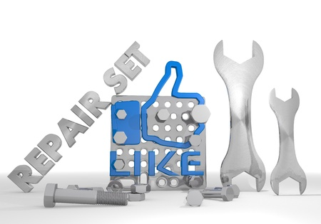 gearbox: Medium blue  isolated gearbox 3d graphic with mechanical like sign repair set Stock Photo