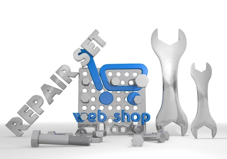 gearbox: Medium blue  shopping gearbox 3d graphic with mechanical web shop sign repair set Stock Photo