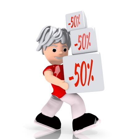 deduction: Dark red  conceptual deduction 3d graphic with -50 discount sign  carried by a cute character Stock Photo