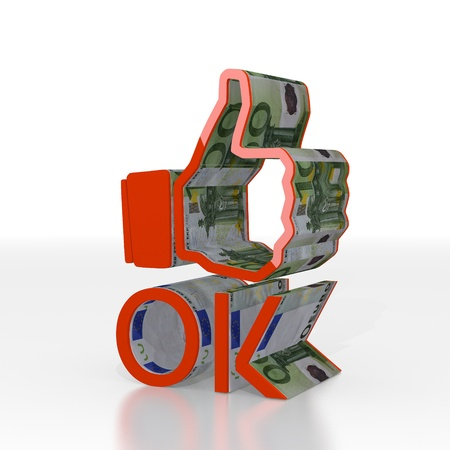 ok symbol: Red  expensive cash 3d graphic with isolated ok symbol  with euro texture Stock Photo