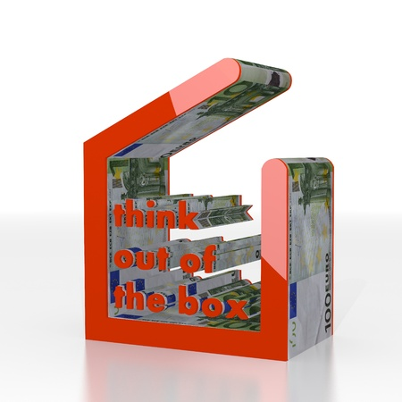 think out of the box: Red  isolated cash 3d graphic with new think out of the box symbol  with euro texture