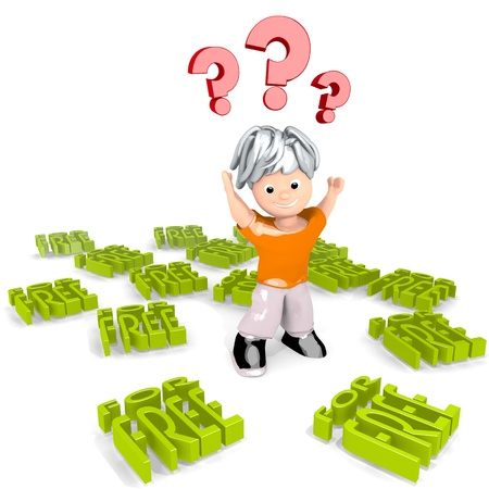 deduction: Limerick  friendly reduction 3d graphic with confused free icon confuse a cute tiny man Stock Photo