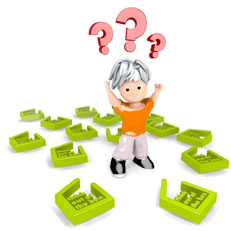 think out of the box: Limerick  new question 3d graphic with nice think out of the box icon confuse a cute tiny man