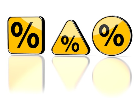 deduction: Dark orange  isolated deduction 3d graphic with isolated percent symbol on three warning signs