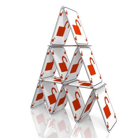 Weiß ausgewogene Unlock-3D-Grafik mit unsicheren unsicher Symbol auf einem Kartenhaus