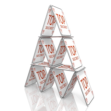 undercover: Bianco fragile sotto copertura grafica 3d con top secret icona in equilibrio su una casa di carta
