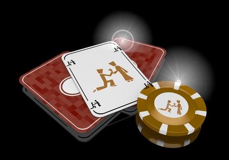 risky love: Grigio pastello fissando sposare 3d grafico con la proposta esclusiva del matrimonio segno sulla carte da poker