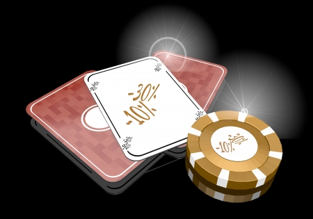 glaring: Pastel gray  -10 percent 3d graphic with glaring discount sign  on poker cards