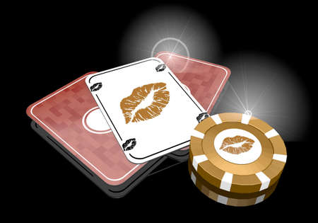 risky love: Pastel gray  exclusive sexy 3d graphic with posh kiss sign  on poker cards