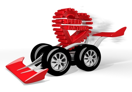 speed dating: Red  super heart 3d graphic with super speed dating icon  on a race car Stock Photo