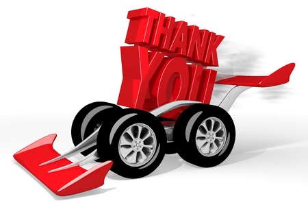fastest: Red  super greeting 3d graphic with fastest thank you symbol  on a race car