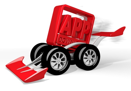 car speed: Red  super high speed 3d graphic with fast app download icon  on a race car Stock Photo