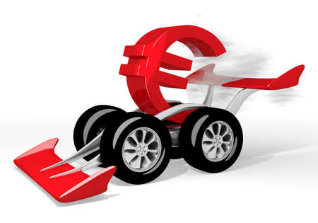 quick money: Red  fastest money 3d graphic with financial Euro symbol  on a race car