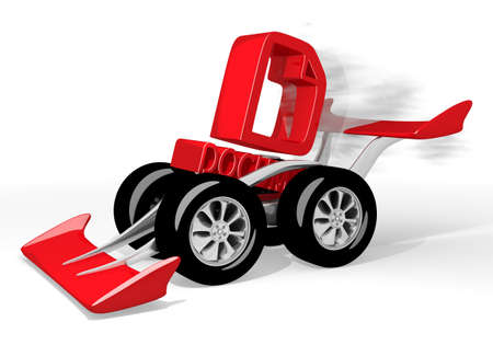 a3: Red  new paper 3d graphic with isolated document icon  on a race car