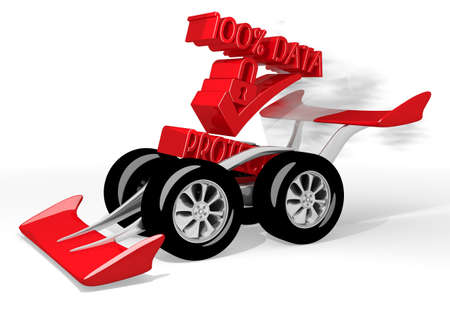 ciphering: Red  isolated speed 3d graphic with fastest data protection sign  on a race car Stock Photo