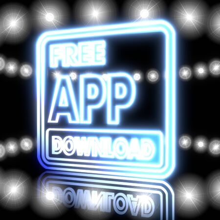 Cool black  glowing Smartphone 3d graphic with shiny free app download icon  with shining effect lights photo