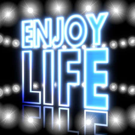 enjoy life: Raffreddare nero incandescente 3d segno grafico con incandescente godere simbolo della vita con brillanti luci ad effetto