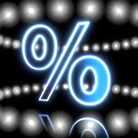 price reduction: Cool black  neon price reduction 3d graphic with neon percent icon  with shining effect lights Stock Photo
