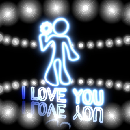 Cool black  tiny love 3d graphic with childish I love you icon  with shining effect lights photo