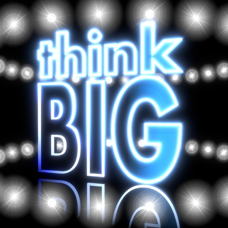 Cool black  glowing sign 3d graphic with shiny think big symbol  with shining effect lights photo