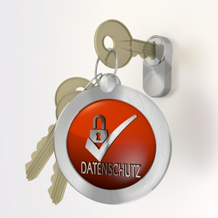 ciphering: Red  isolated security 3d graphic with safe datenschutz(english data protection) icon  on a key Stock Photo